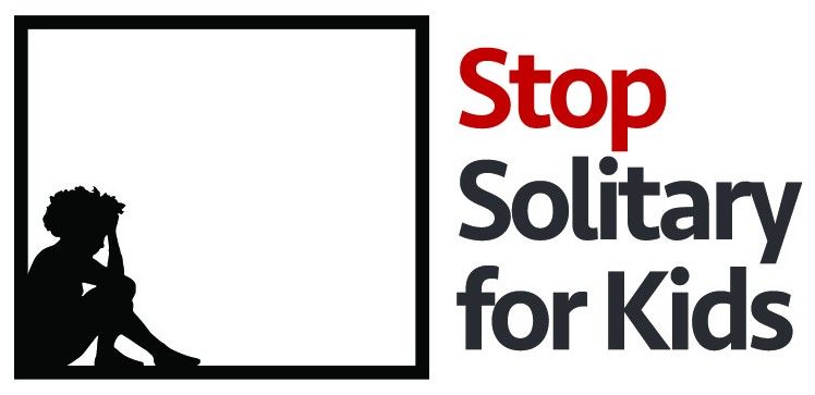 Logo for Stop Solitary for Kids Campaign, child kneeling in box.